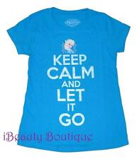 Disney Frozen Graphic Tee T-Shirt Top TURQUOISE Girls KEEP CALM And LET IT GO