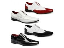 Rossellini ROBERTO Mens Patent Lace Up Pointed Toe Brogue Formal Party Shoes New