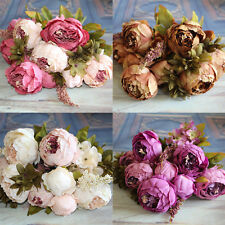 Craft Silk Flowers Home Christmas Bouquet European style Floral Decor Peony