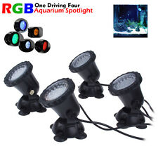 4x 36 LED RGB Aquarium Submersible Lamp Light For Fish Tank Water Pond Spotlight