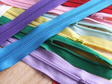 10 x Nylon Zips colour assortment for sewing & crafts with autolock -SIZE CHOICE