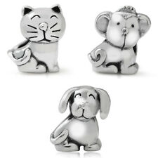 925 Sterling Silver CAT, DOG & MONKEY European Charm Bead