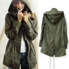 NEW Womens Hoodie Drawstring Army Green Military Outwear Parka Jacket Coat lh us