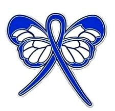 Blue Ribbon Butterfly Pin Awareness Colon Cancer Child Abuse Anti Bullying New