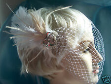 WHITE  IVORY Bridal Birdcage VEIL Peacock Fascinator Wedding Hair Clip Feather