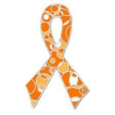 Orange Ribbon Awareness Pin Retro Bubble Many Cancer Causes Multiple Sclerosis