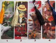 3D BOOKMARKS WITH SILK TASSEL - VARIOUS DESIGNS LISTED