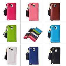 Thin Credit Card Holder Case Leather Pouch Strap Cover for Samsung Mobile Phone