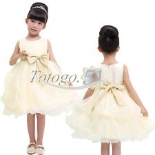 Girls Party/Flower/Formal/Wedding/Princess/Prom/Bridesmaid/Christening Bow Dress