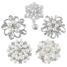Silver Tone White Pearl Flower Swarovski Crystals Elements Brooch Pin Wedding