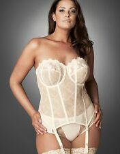 NEW ELOMI IVORY STRAPLESS BASQUE 32G WEDDING SUSPENDERS FULL CUP BRA CREAM 8202
