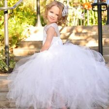 Deluxe Girl Dress Wedding Pageant Bridesmaid Ball Gown Tulle bodycon floor prom