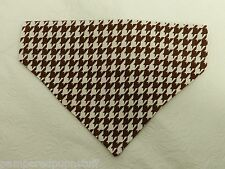 DOG CAT FERRET REVERSIBLE Over Collar Bandana~Classic Brown/White Houndstooth