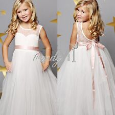 Flower Girl Princess Kids Lace Party Pageant Wedding Bridesmaid Ball Gown Dress