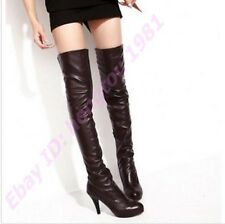 Full size women's over the knee boots pull-ons shoes heels 3 colors faux leather