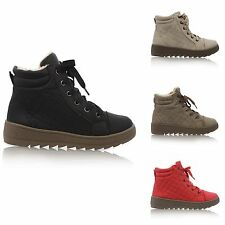 WOMENS LADIES FAUX FUR LINED LACE UP QUILTED WINTER SNOW ANKLE BOOTS SIZE 3-8
