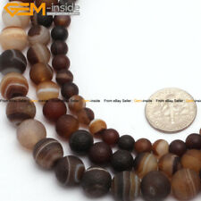 """Round Frost Brown Banded Agate Jewelry Making Gemstone Beads Strand 15"""" 6-10mm"""