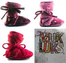 MUK LUKS The Original Faux Fur & Velvet Booties Pink Purple or Red NWT Sz M L XL