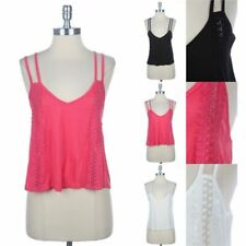 Double Spaghetti Strap Cropped Tank Top with Lace Trim Inset A-Line Rayon S M L