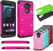 Bling Crystal Rugged Rubber Defender Case Cover For Motorola Droid Turbo XT1254