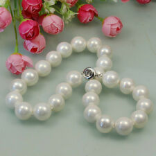 """s014 AAA 16mm White Black Purple Round Shell Pearl Necklace 18-22"""""""