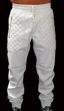 New Mens Off-White PU Faux Leather Joggers Quilted Zipper Pockets w/ Drawstring
