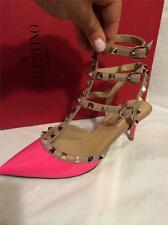 Valentino Pink Patent Rockstud Studded Strappy Ankle T Strap Heels Shoes $995