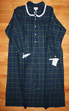 Lanz of Salzburg Nightgown Green Plaid Flannel Long Gown 100% cotton NWT