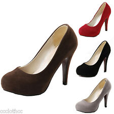 Summer Vintage Suede Pumps Ladies High Heels Womens Party Court Shoes Size