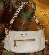 Authentic Prada Handbag Ivory Lambskin Leather Purse Heavy Chain Handle