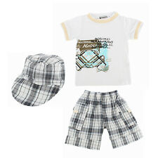 Baby Boys Infants Suit T-shirt +Plaid Shorts Pants+Hat Clothes Outfits 3pcs L64