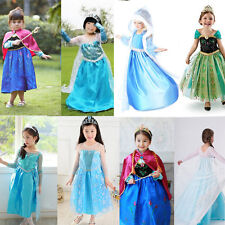 Girls Snow Queen Cosplay Elsa Anna Costume Princess Party Fancy Dress for 3Y-8Y