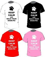 Keep Calm And Walk Your Shar-Pei T-shirt In 4 Colours For Adults & Kids