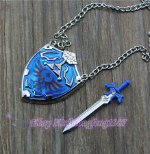 anime necklace Legend of Zelda Necklace Blue shield Zelda Necklace Set  +BOX
