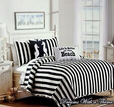 Coastal Beach House Nautical Navy Blue & White Cabana Stripe 3pc Quilt Set
