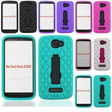 Alcatel One Touch Fierce 2 / Pop Icon Diamond Case Hybrid Kickstand Phone Cover