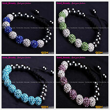 10mm Rhinestone CZ Crystal  Hematite Pave Disco Ball Beads Bracelet Wholesale