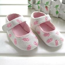 ~Crazy Sale~ Soft White Suede with Flower Embroidery Baby Girls Shoes UK sz 2, 3