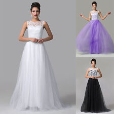 Valentines ~Vintage Lace Long Formal Prom Dresses Bridesmaid Evening Gowns Dress