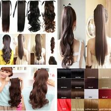 Straight/Curly  Buckle tie up Ponytail Clips in Hair Extensions Light Brown 5jw