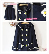 NEW Cute Flower Button Trench NAVY Sailor Style Jacket Double Breasted Coat