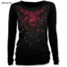 SPIRAL DIRECT Ladies Black Goth BLOOD ROSE L/Sleeve Top All Sizes