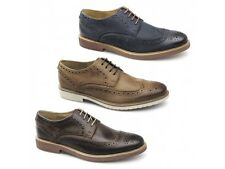 Ikon HAZEL Mens Leather Lace-Up Full Brogue Wingtip Smart Casual Office Shoes