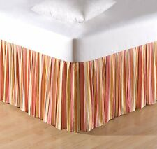 ORANGE STRIPED Twin Full Queen or King BED SKIRT : TROPICAL FLAMINGO DUST RUFFLE