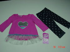 NWT Toddler Girls 2 piece set Young Hearts Top Leggings Hearts Pink Blue outfit