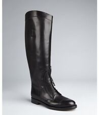 Gucci Black Leather Lace Up Riding Equestrian Knee High Tall Flat Boots $1150