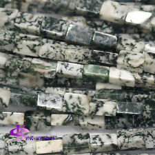 Natural Genuine Green  Milky White Tree Agate Square Rectangle Shape Loose Beads