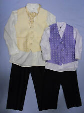 Baby Babies Four 4 Piece Suit Formal Waistcoat Christening Page Boy Lilac Gold