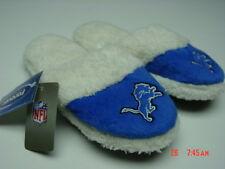 NWT Women's Detroit Lions Scuff Slippers Furry Football Blue Warm Fluffy New