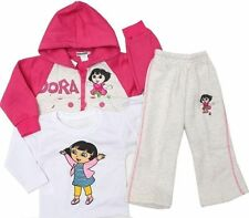 NEW Size 0~6 WINTER TRACKSUIT PINK DORA 3pcs SET TOP JACKET HOODED GIRLS OUTFITS